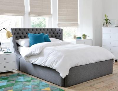 Cavendish II fabric kingsize bed with storage grey
