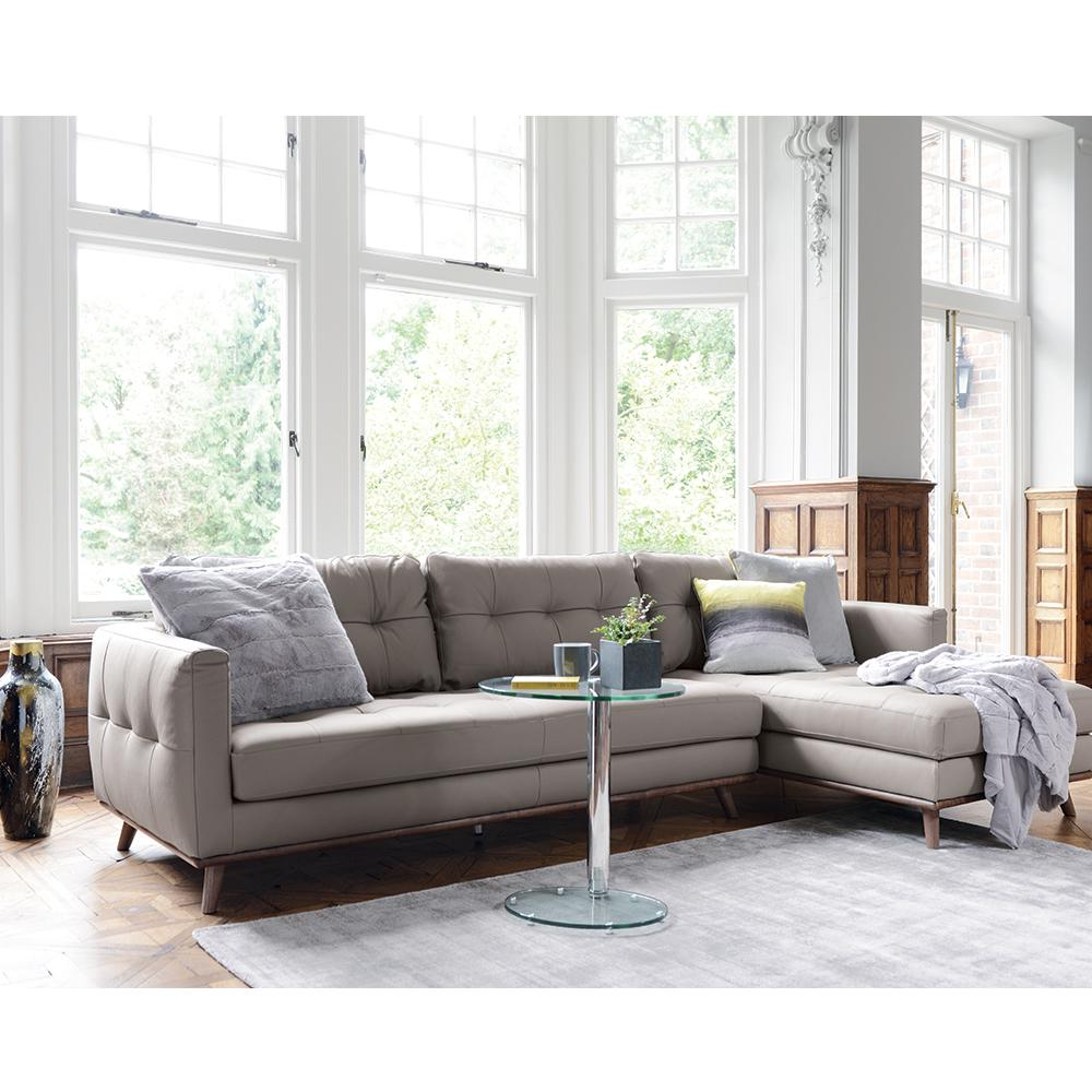 Marseille right hand facing four seater chaise sofa leather light grey