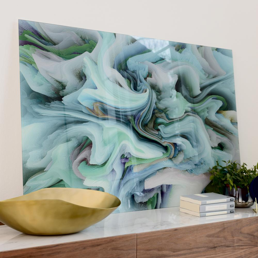 Glass waves wall art green