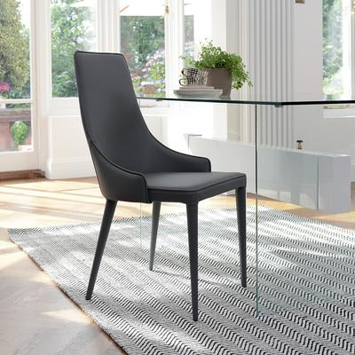 Tapered dining chair faux leather grey