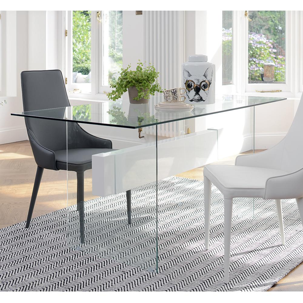 Sturado glass 6 seater dining table white