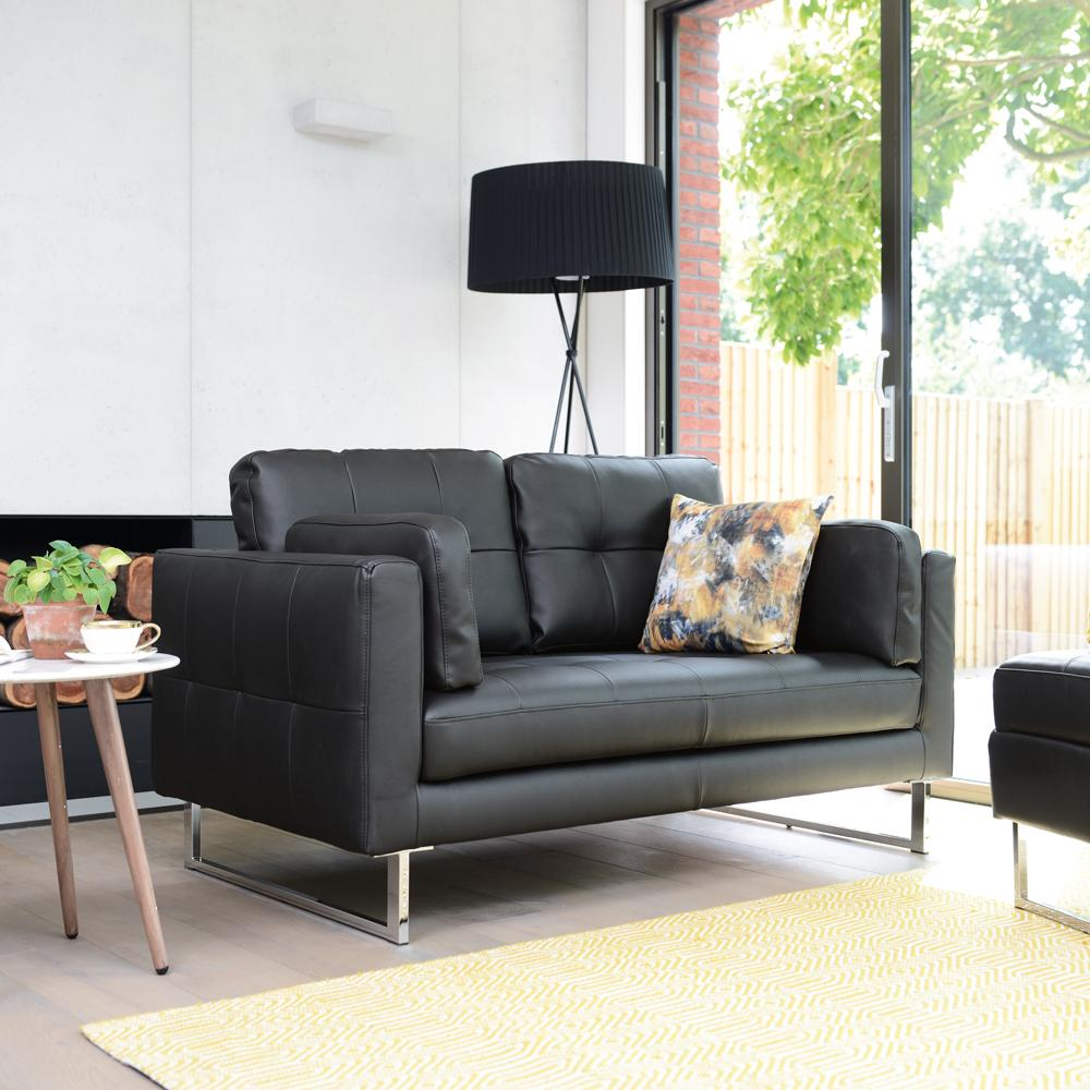 Paris leather two seater sofa jet black