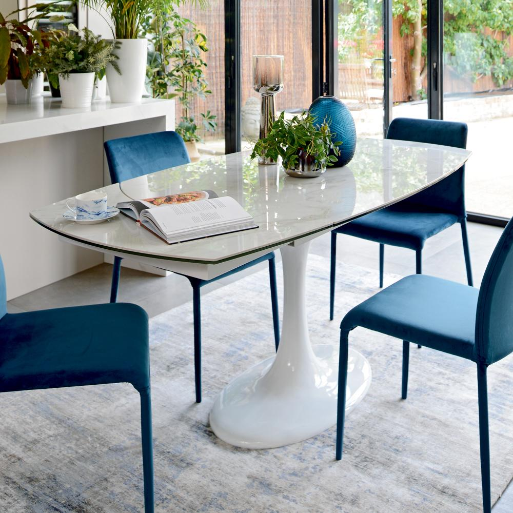 Lille Marble Ceramic Extending 4 6 Seater Dining Table White Dwell
