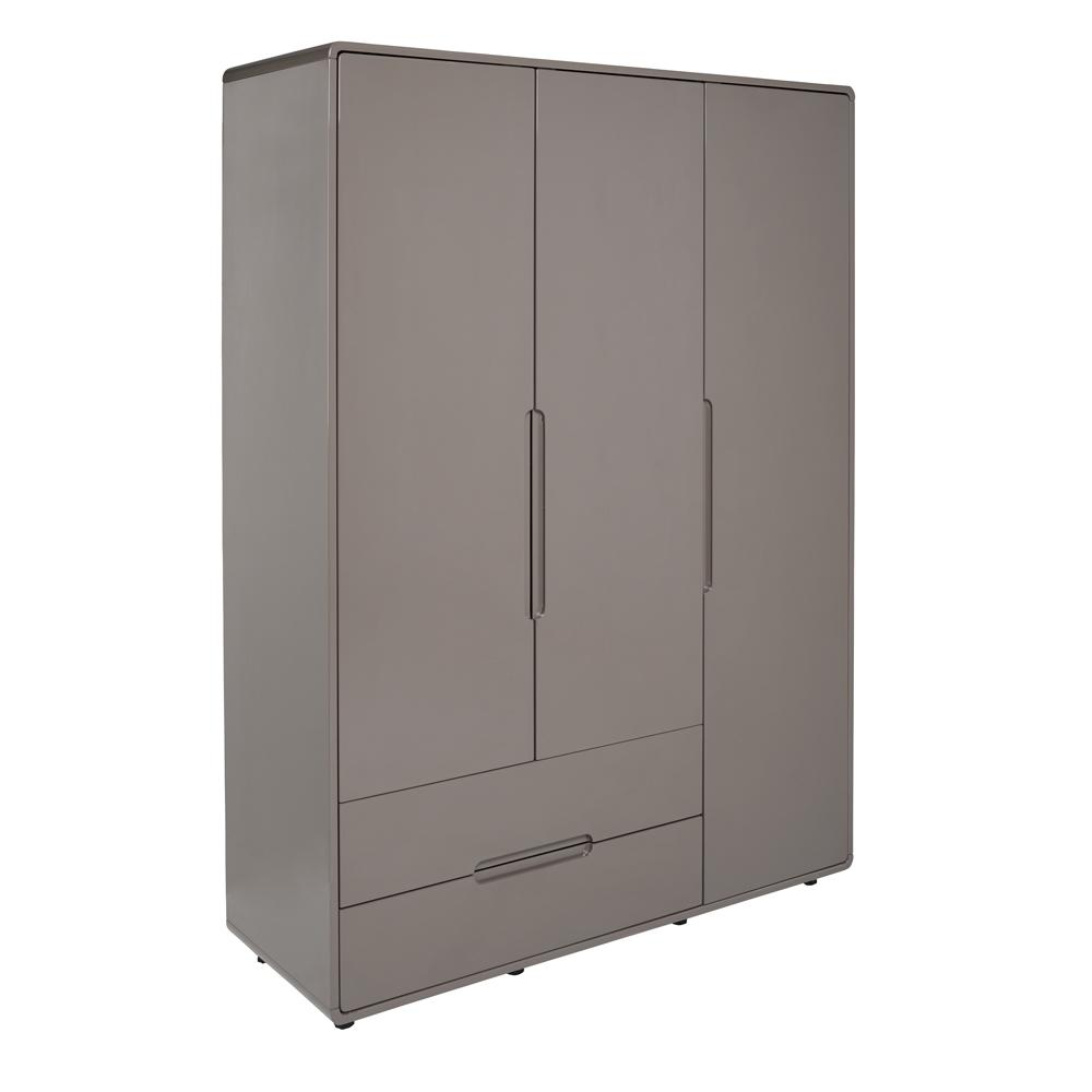 Notch wardrobe three door with drawers stone