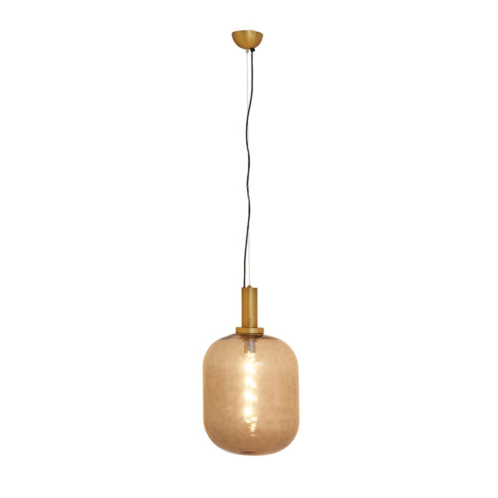 Dome brass grey glass pendant light