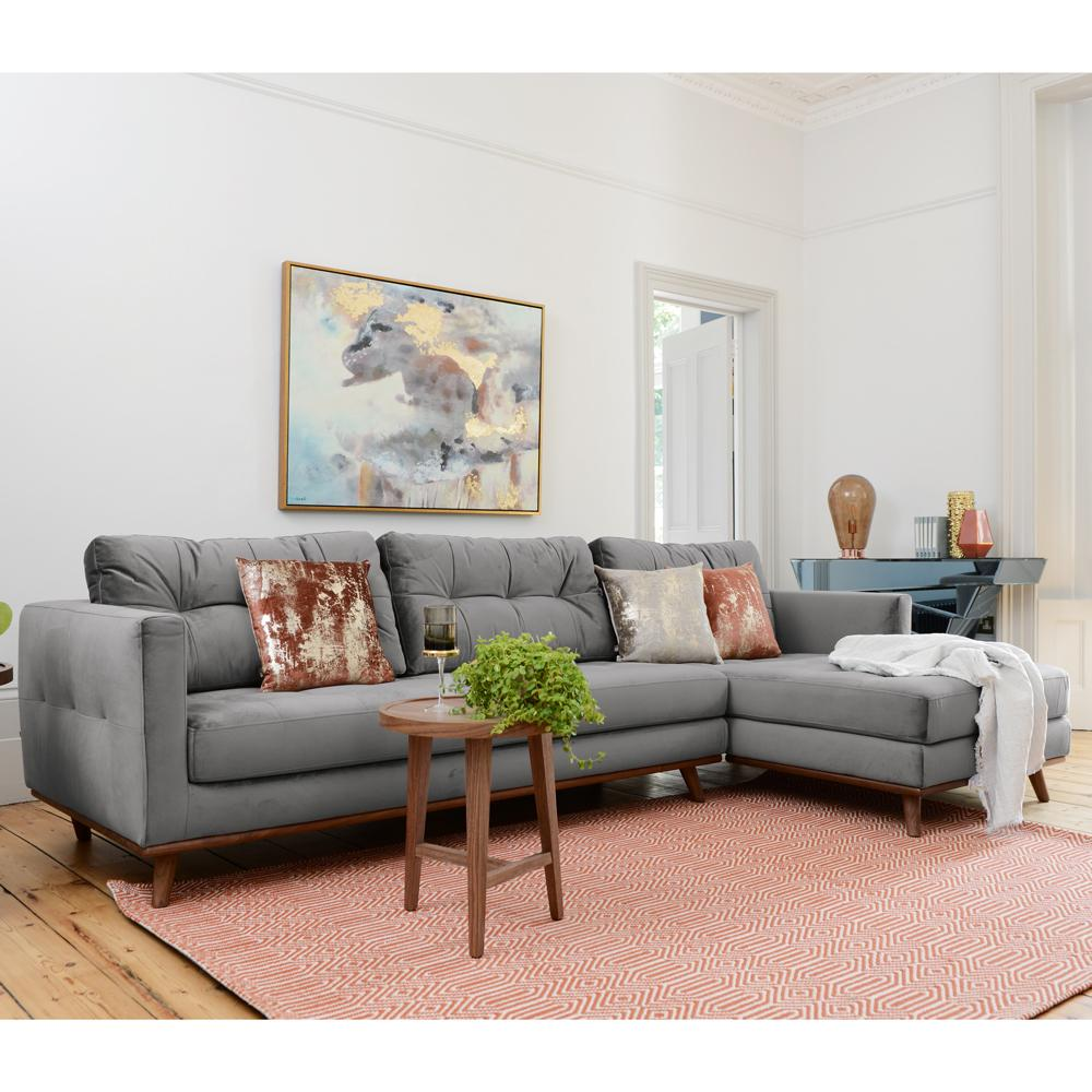 Marseille right hand facing four seater chaise sofa velvet grey