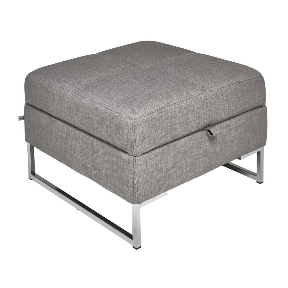 Vienna fabric storage footstool light grey