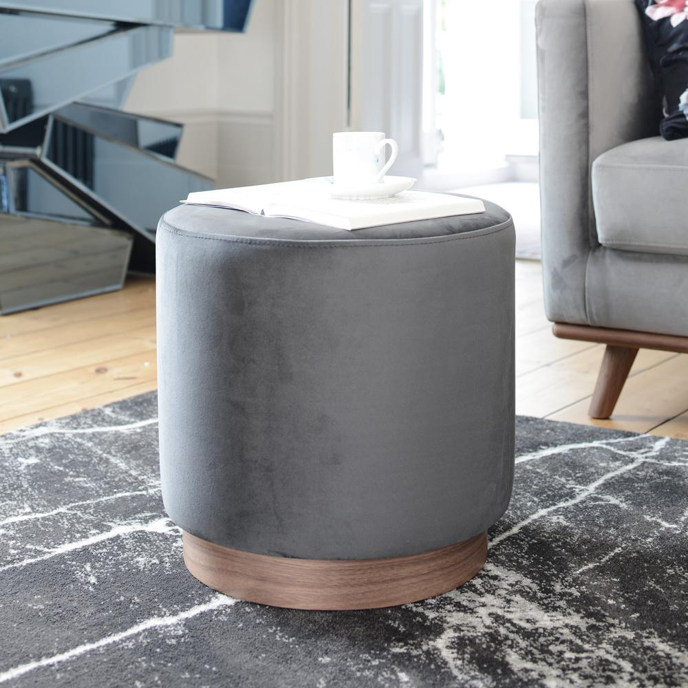 Duo stool grey velvet walnut base