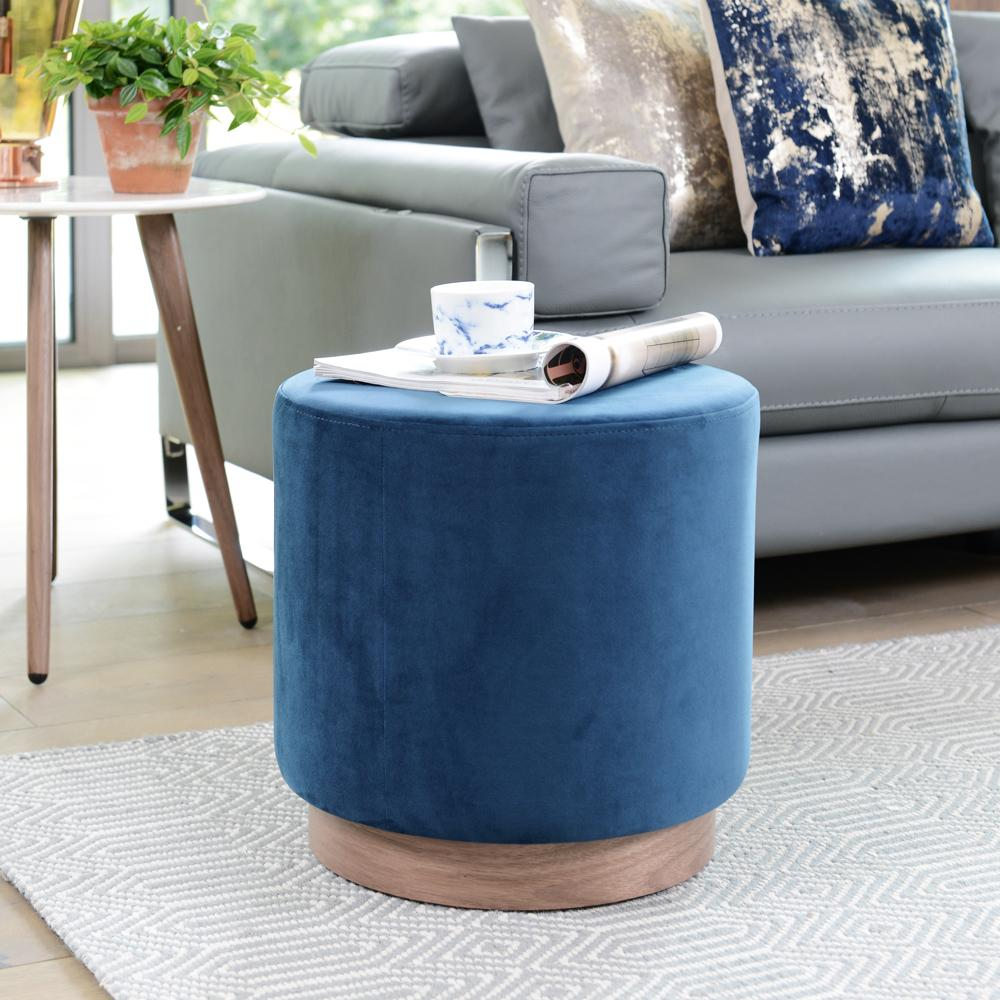 Duo stool blue velvet walnut base