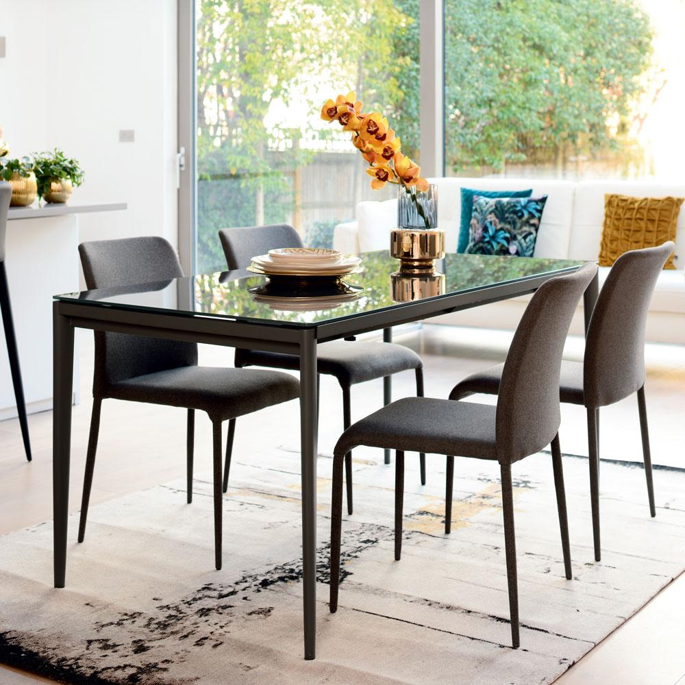Bari Glass Double Extending 6 10 Seater Dining Table Grey Dwell