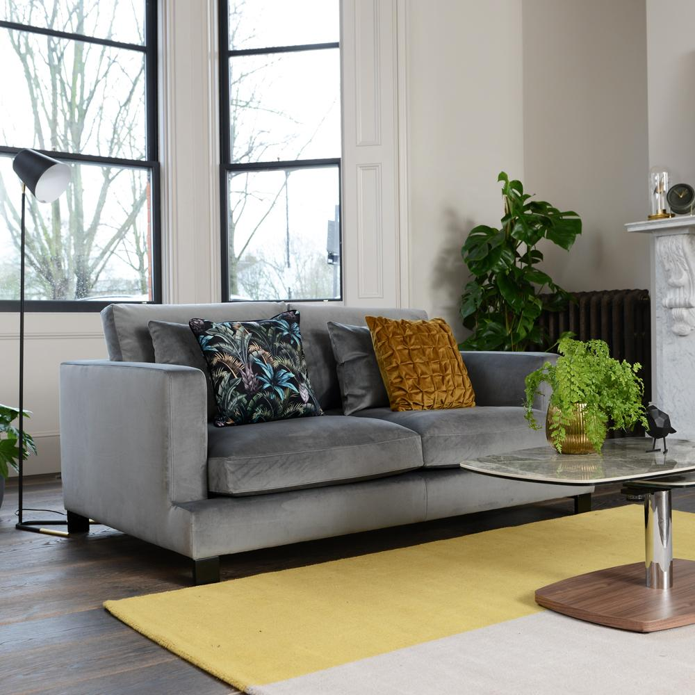 Lugano two seater sofa grey velvet