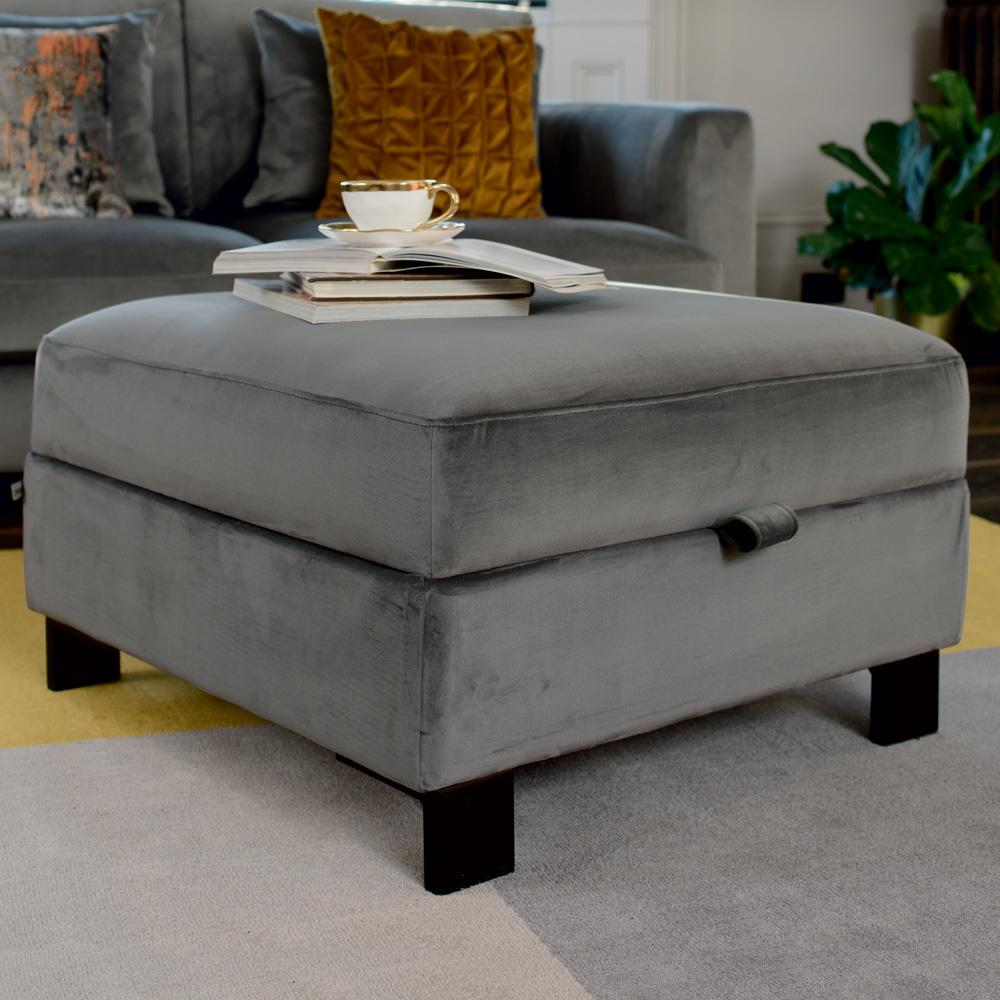 Lugano storage footstool grey velvet