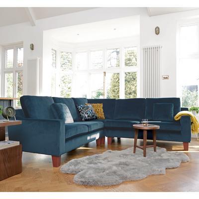 Ankara full corner sofa blue velvet