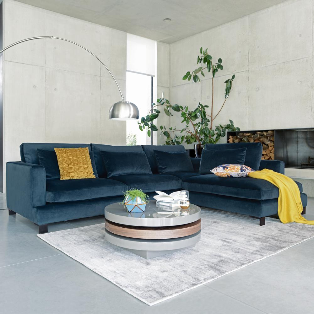 Lugano right hand corner sofa blue velvet