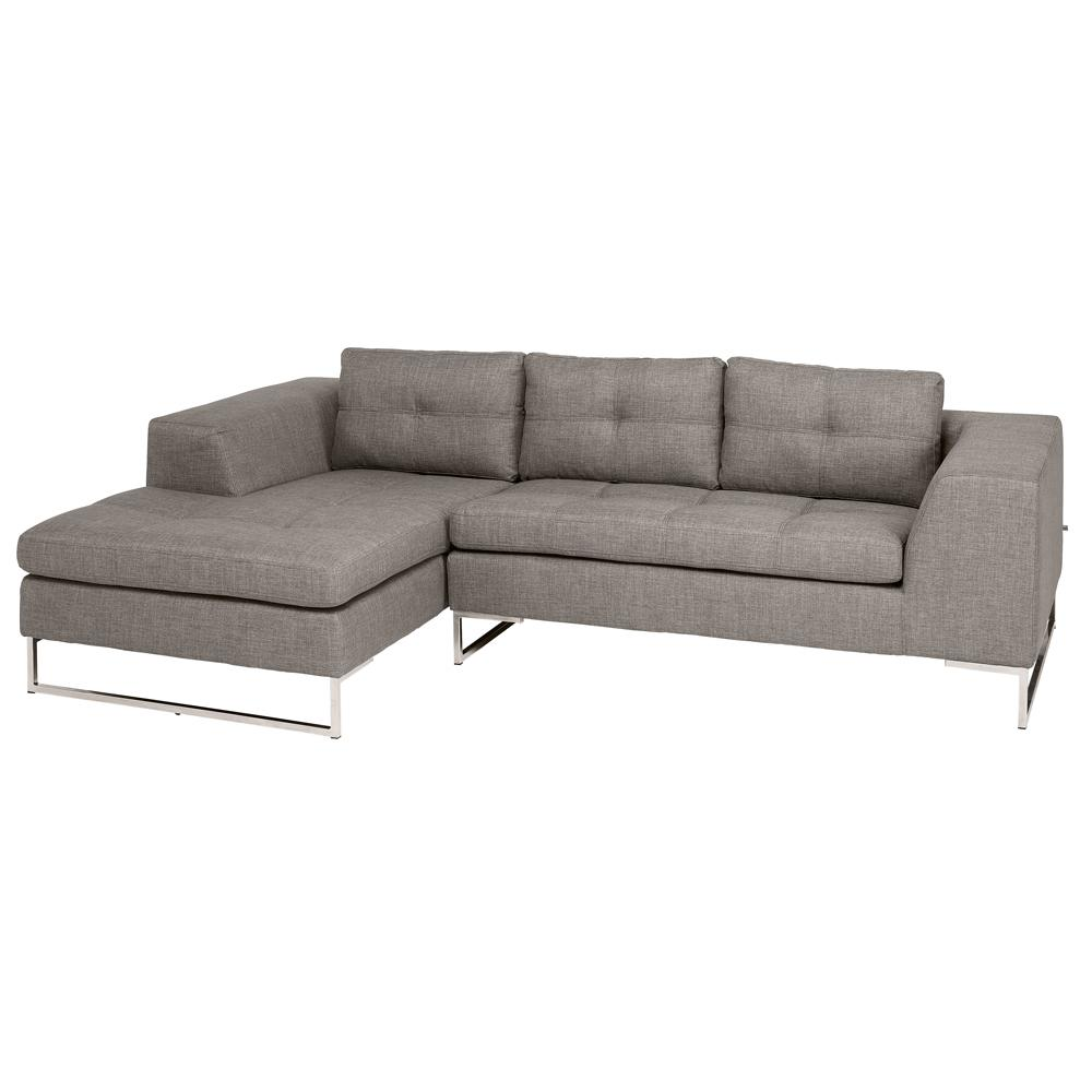Toleda left hand facing three seater chaise sofa patet light grey