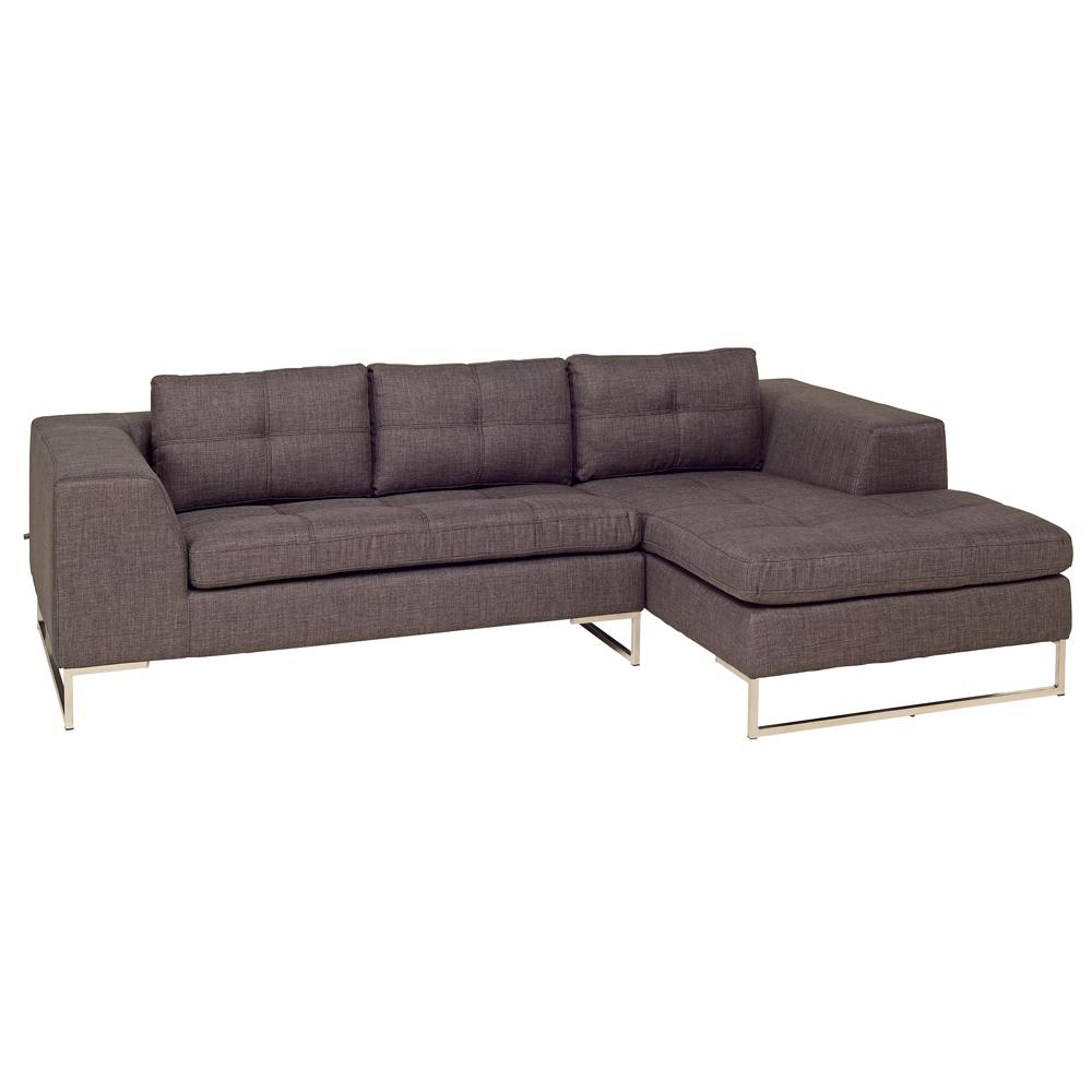 Toleda right hand facing three seater chaise sofa patet truffle