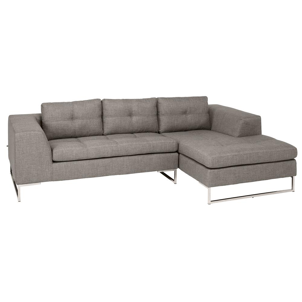 Toleda right hand facing three seater chaise sofa patet light grey