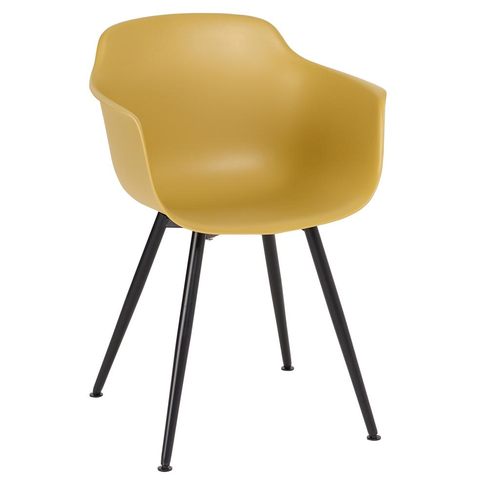 Treviso dining armchair mustard with black leg
