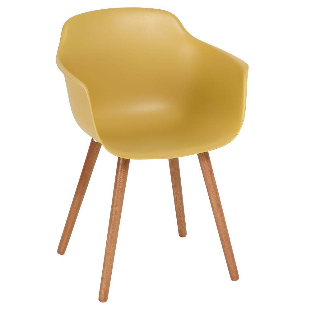 Plex dining armchair mustard with walnut leg