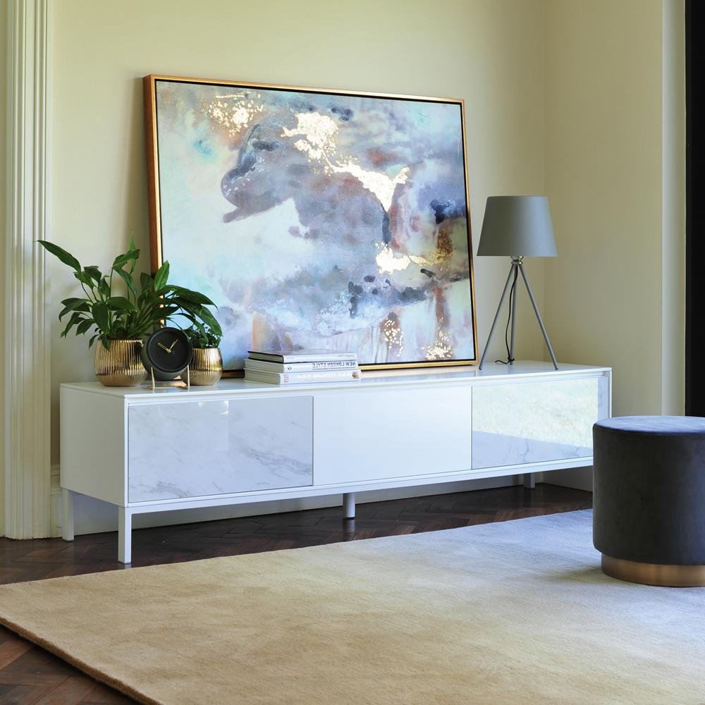 Avant TV unit white marble ceramic