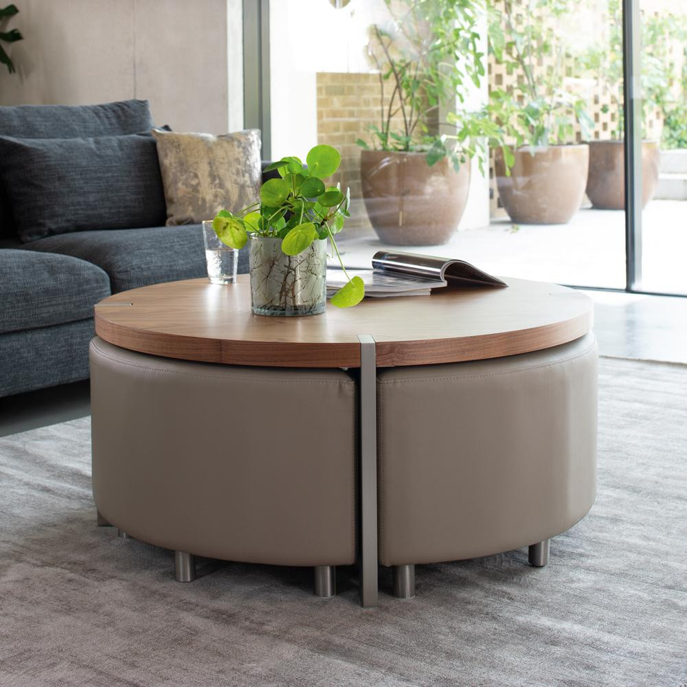 - Rotunda Coffee Table With Stools Walnut And Stone Dwell