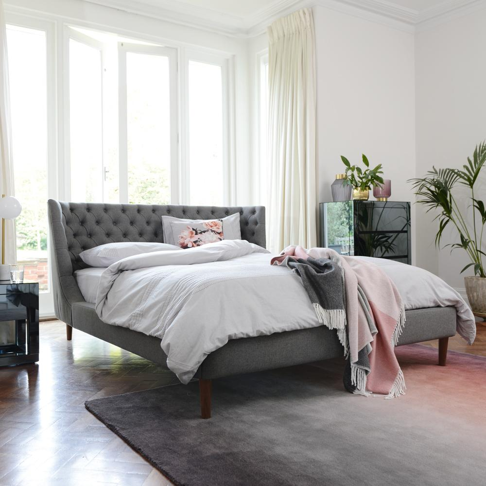Cavendish II fabric double bed grey