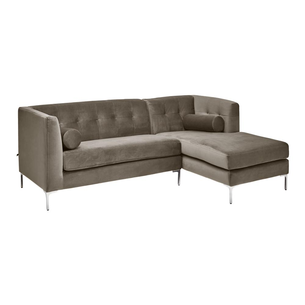 Lyon right hand corner sofa grey velvet