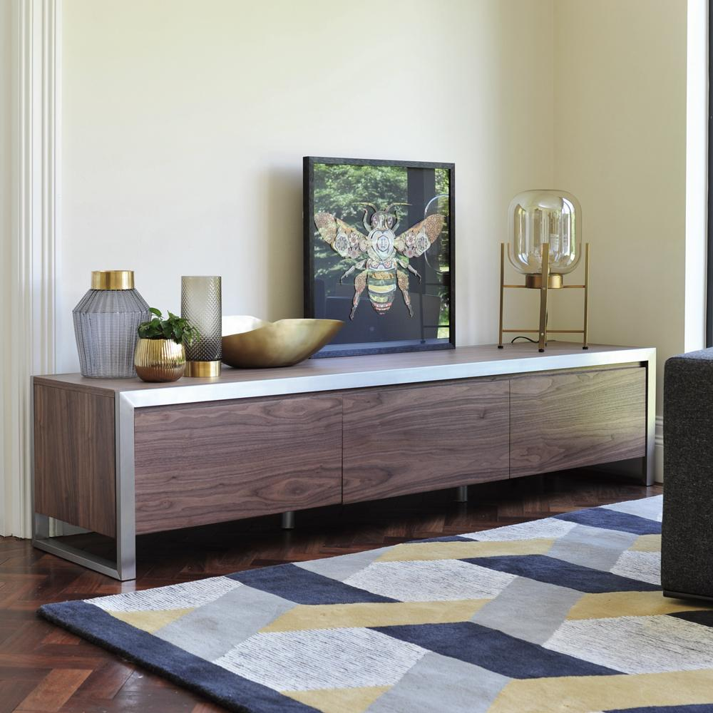 Steel frame tv unit large walnut