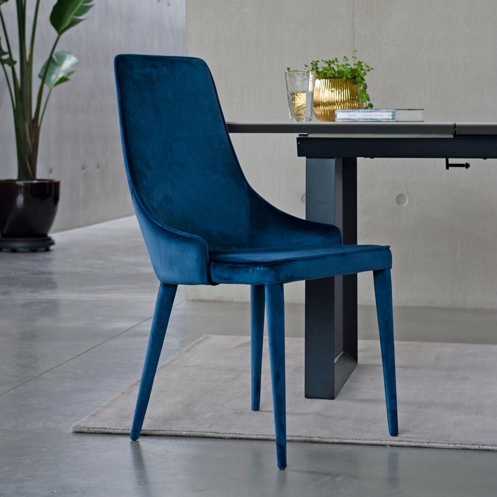 Sottile dining chair blue velvet