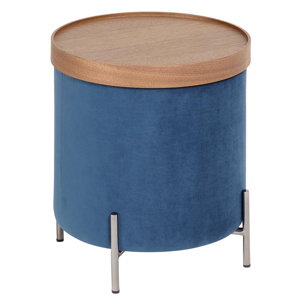 Margo side table gunmetal leg blue velvet
