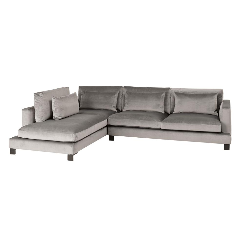Lugano II right hand facing arm corner sofa alba velvet grey