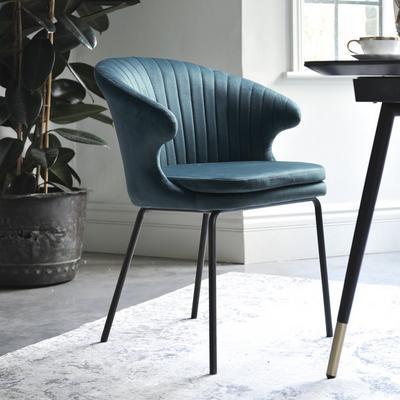 Pecten scallop dining chair green distressed velvet