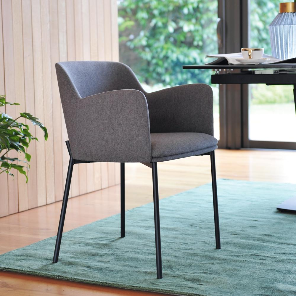 Toros accent armchair grey fabric black legs