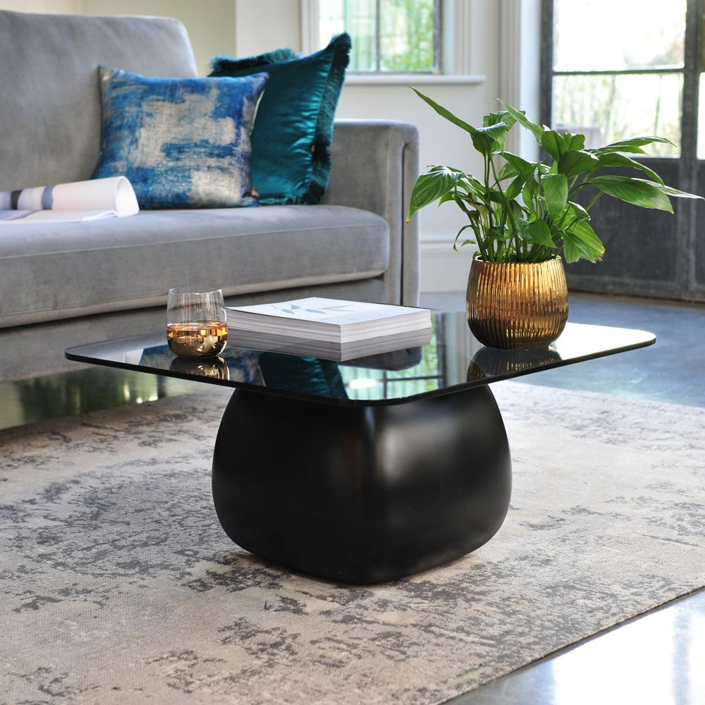 Ciot pebble coffee table smoke glass top black base
