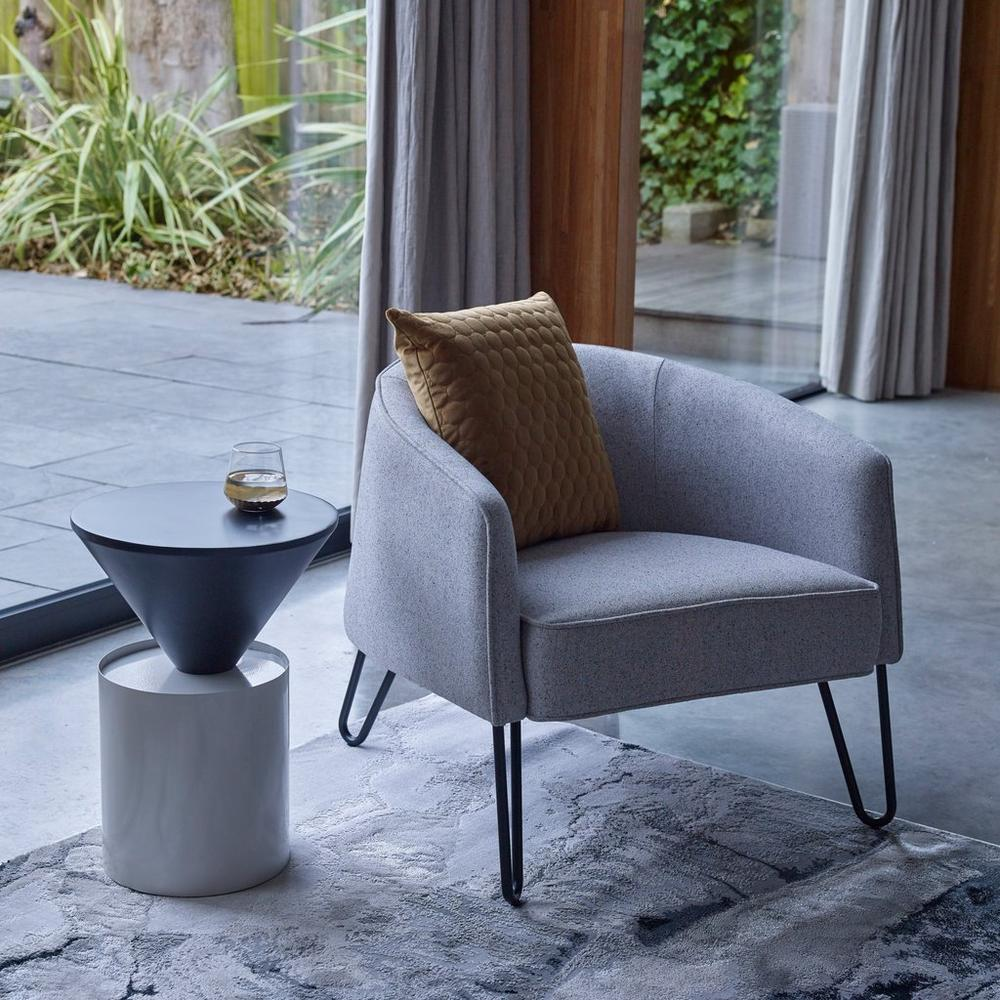 Urva accent armchair grey fabric black legs