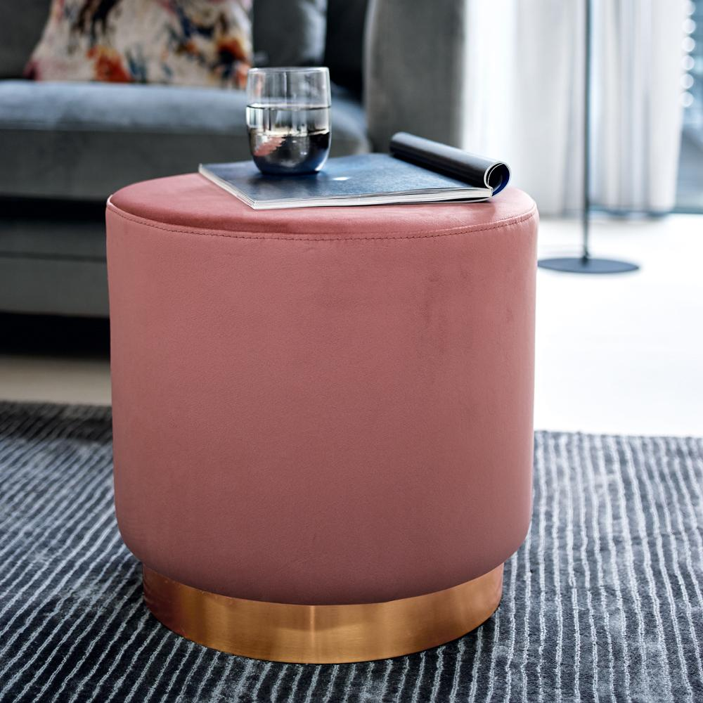 Duo stool pink velvet brass base