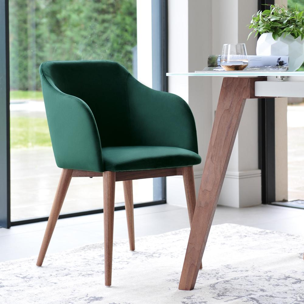 Dip dining chair green velvet
