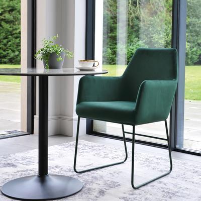 Trono dining chair green velvet black leg