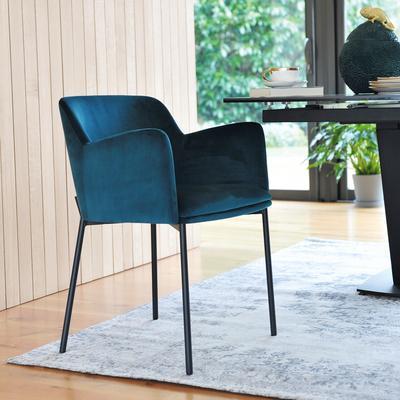 Toros dining armchair teal velvet black legs