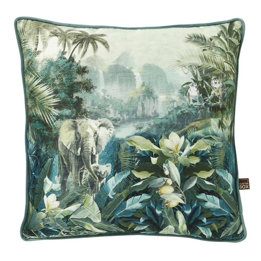 Elephant jungle cushion blue velvet