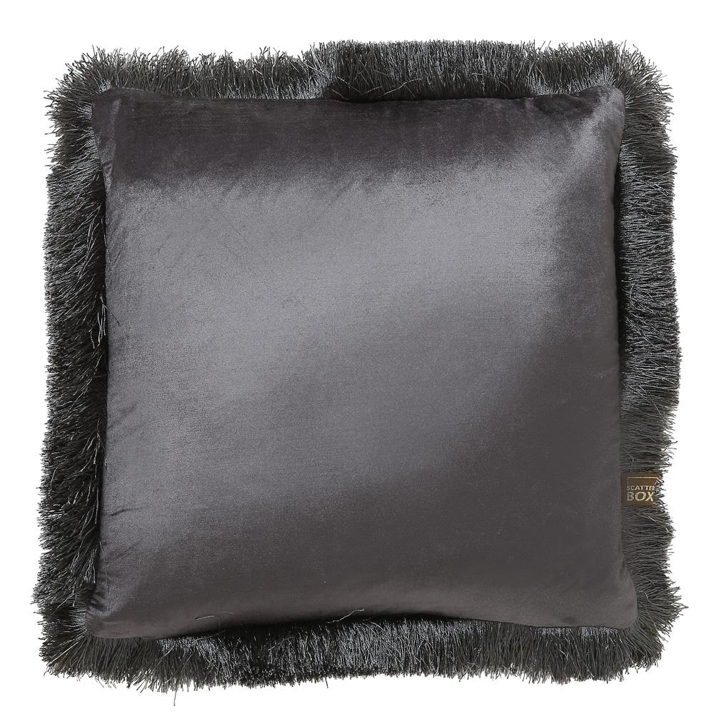 Larla grey velvet cushion