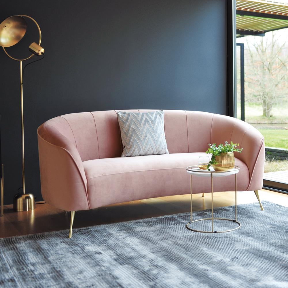 Bordeaux two seater curve sofa dusky pink velvet