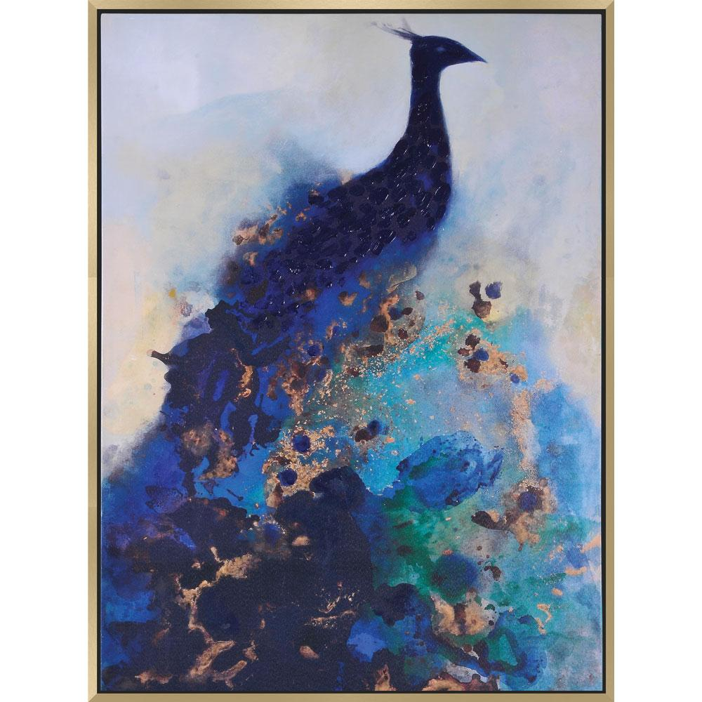Peacock art blue