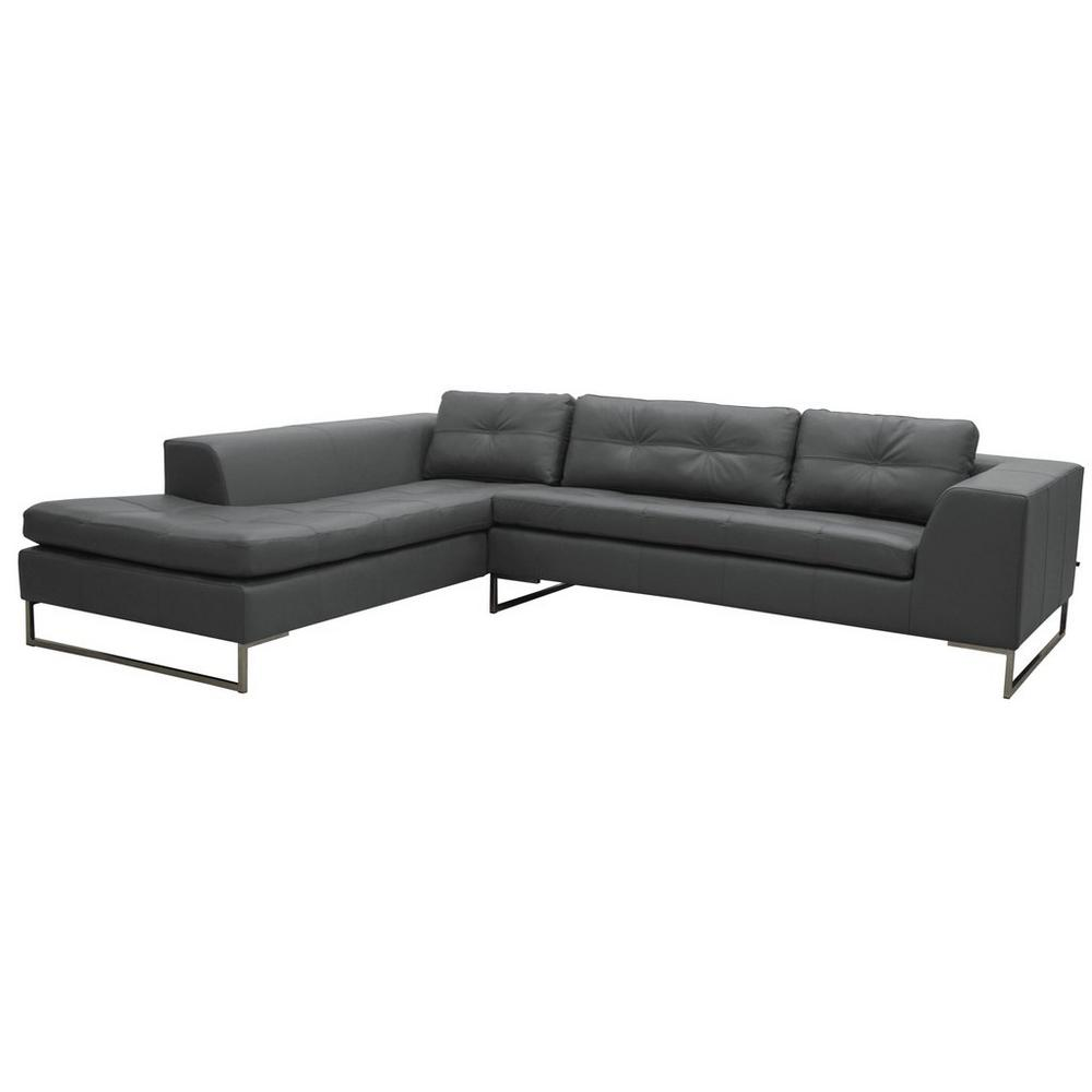 Toleda right hand facing arm corner sofa mollis leather dark grey