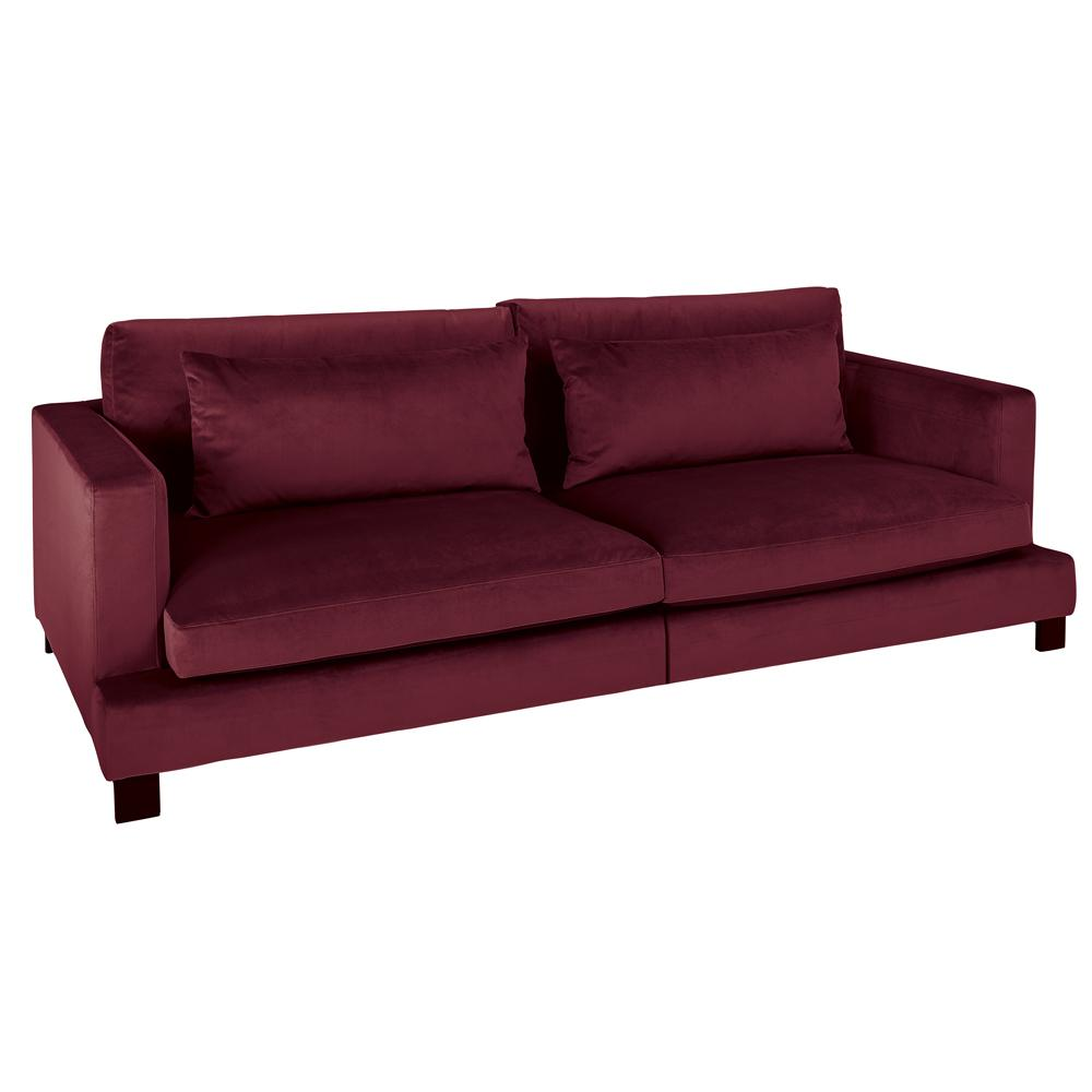 Lugano II four seater sofa burgundy velvet