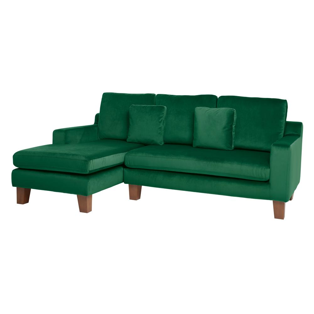 Ankara II left hand facing three seater chaise sofa alba velvet forest green