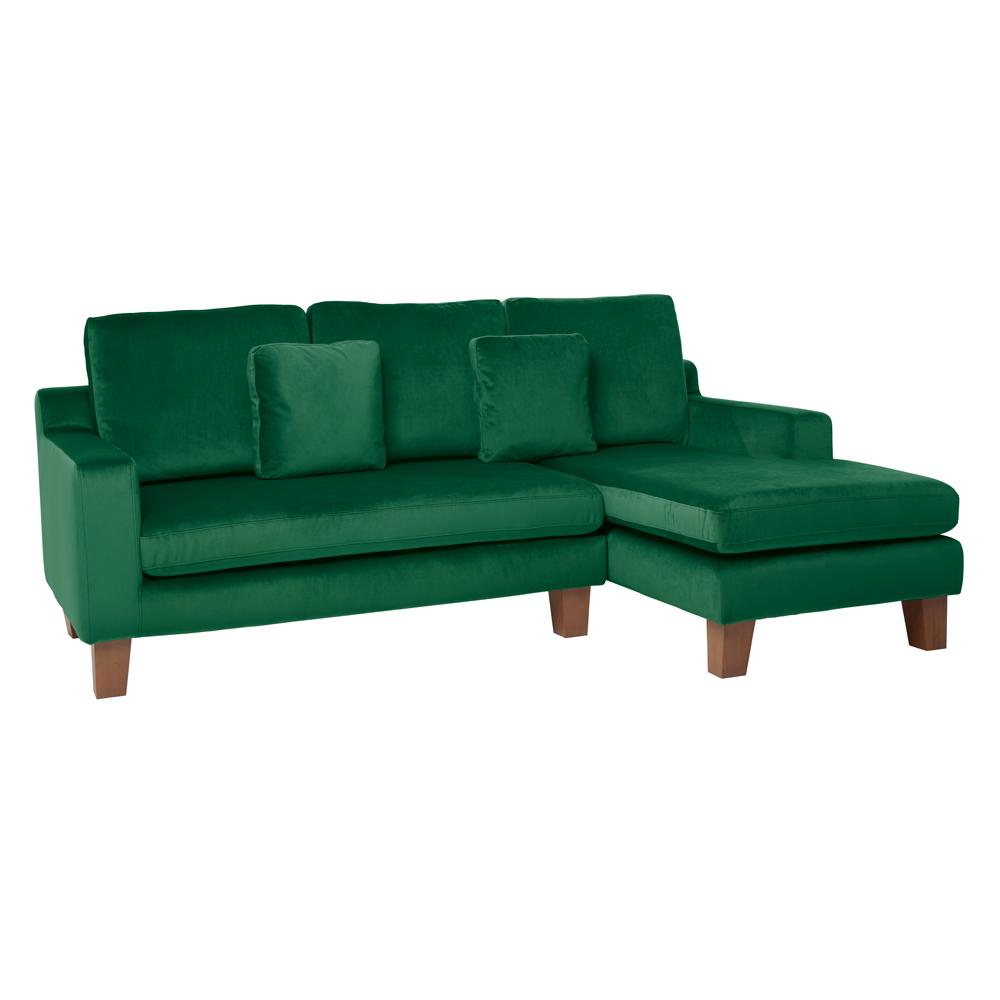 Ankara II right hand facing three seater chaise sofa alba velvet forest green