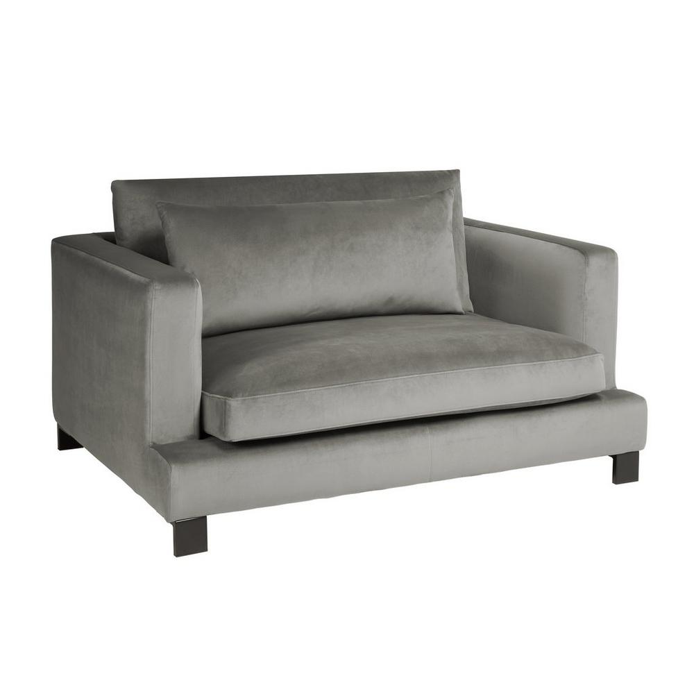 Lugano cuddler sofa grey velvet