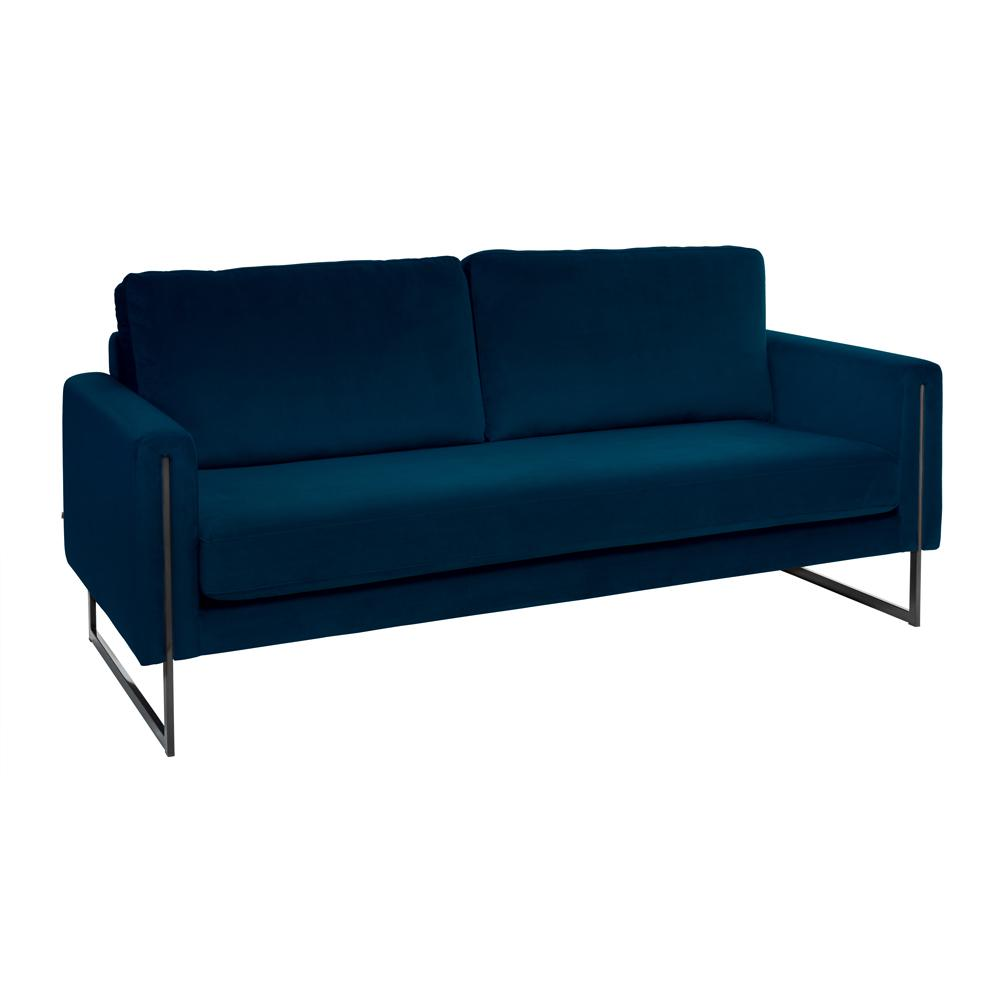 Bruges three seater sofa blue velvet