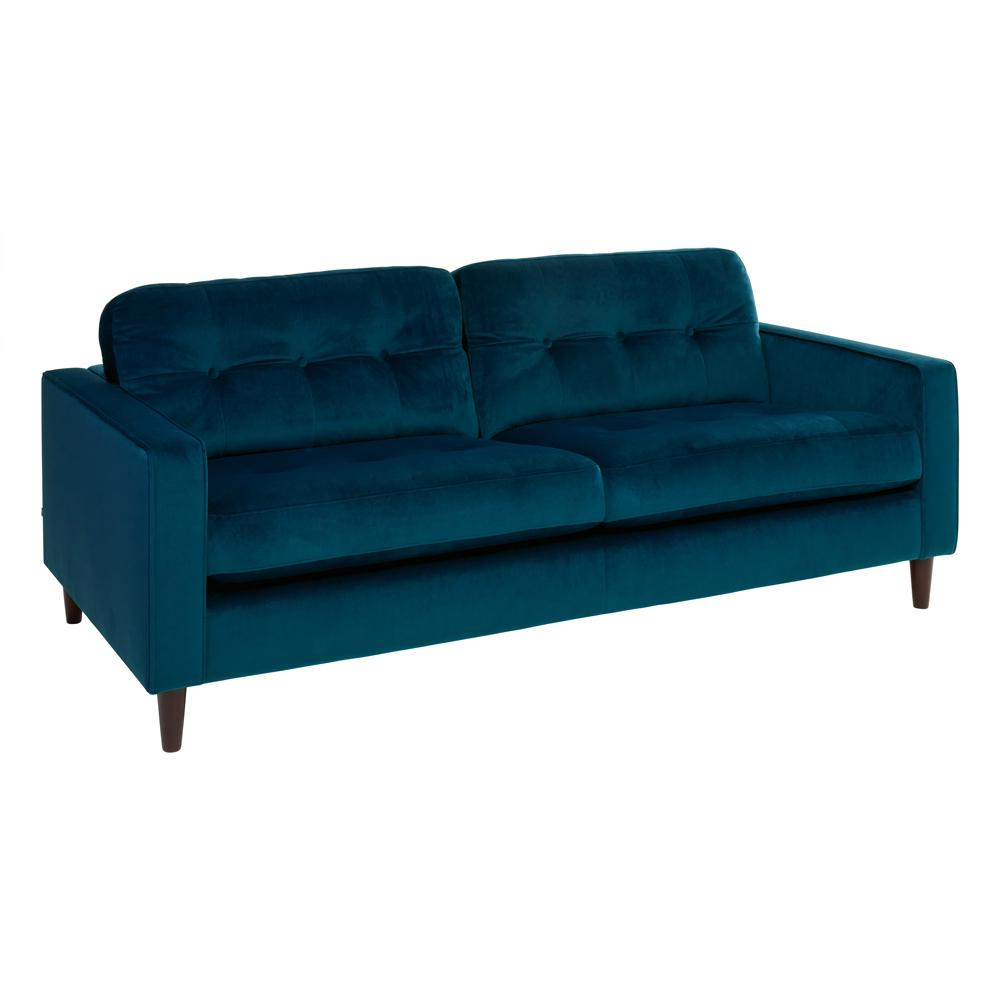 Bergen three seater sofa alba blue velvet